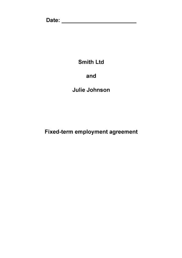 Template Fixed Term Employment Agreement
